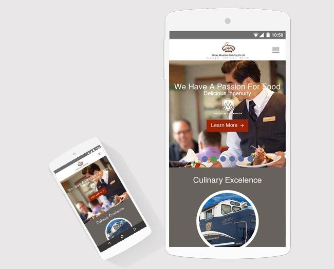 catering mobile website design